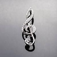 Брошь Серебристая Скрипичный ключ в стразах цвет метала светлое серебро 5,5*2 см