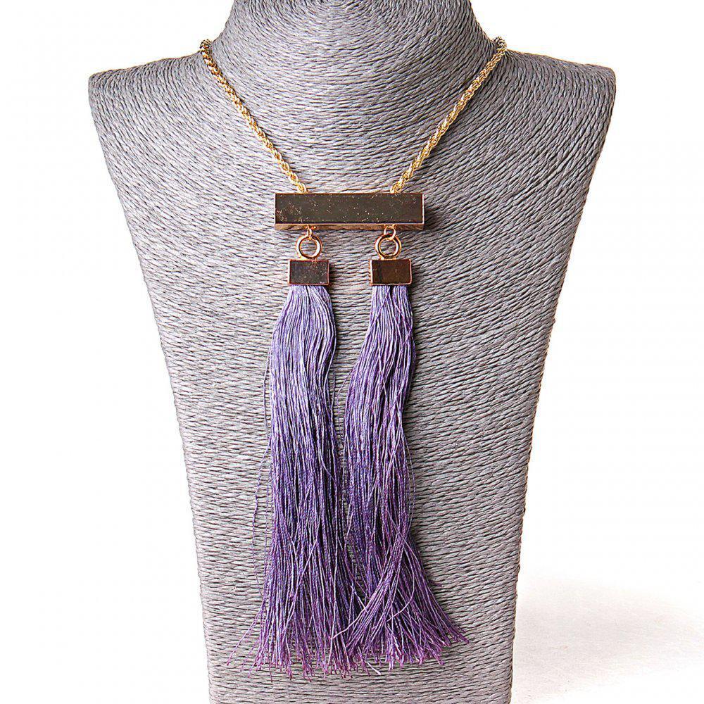 Ожерелье с подвеской из 2 текстильных кисточек фиолетовый Gold