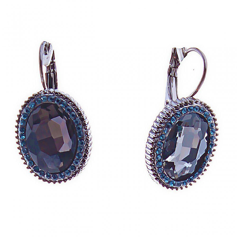 Серьги итальянская застежка с синими овальными кристаллами в оправе со стразами, 15мм