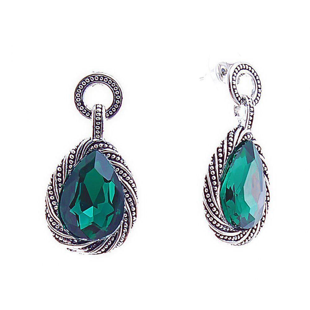 Серьги -подвески капли, с зелеными кристаллами в оправе под капельное серебро на кольцах, 36*18мм