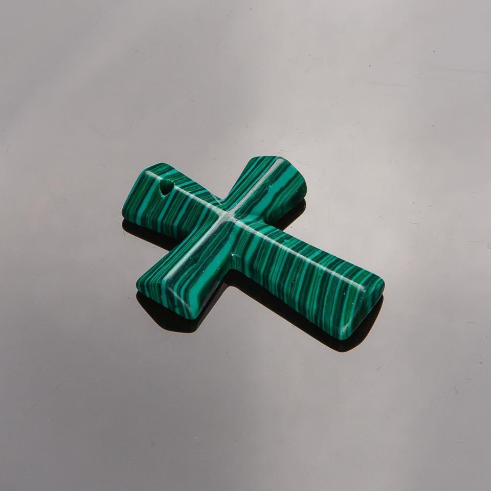 Кулон Крест каменный Малахит (пресс) 4,5х3см