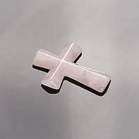 Кулон Крест каменный Розовый кварц 4,5х3см