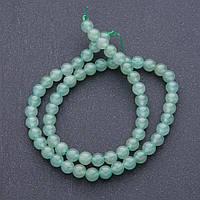 Бусины натуральный камень Нефрит на нитке шарик d-6мм, L- см