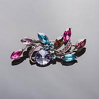 Брошь Листики цветные кристаллы