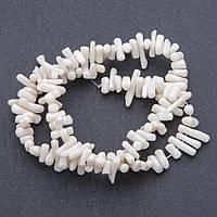 Бусины натуральный Коралл белый веточки d-3мм, L- 39см нитка