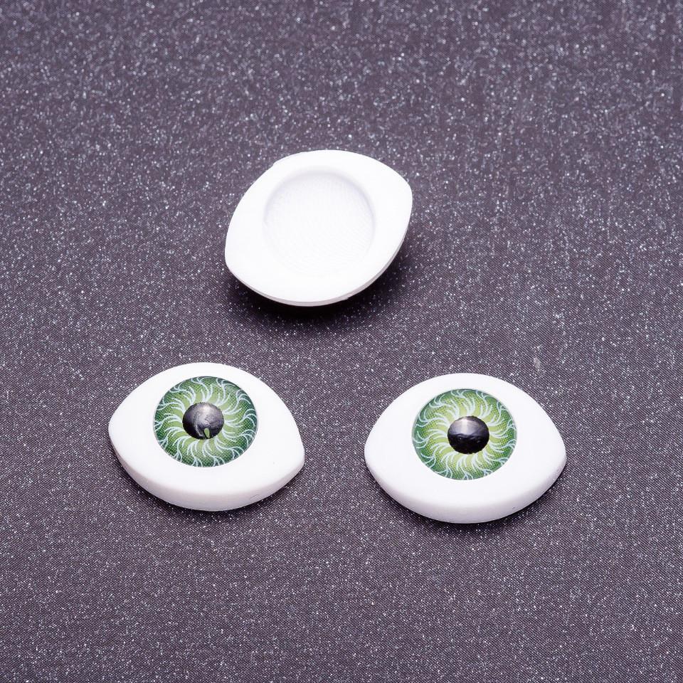 "Фурнитура ""Живые глазки"" пара цвет зеленый зрачок d-10мм 19х14мм фас.20пар."