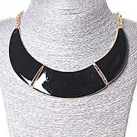 [130х20 мм.] Ожерелье Воротник 3 части металл Gold и черный глянец