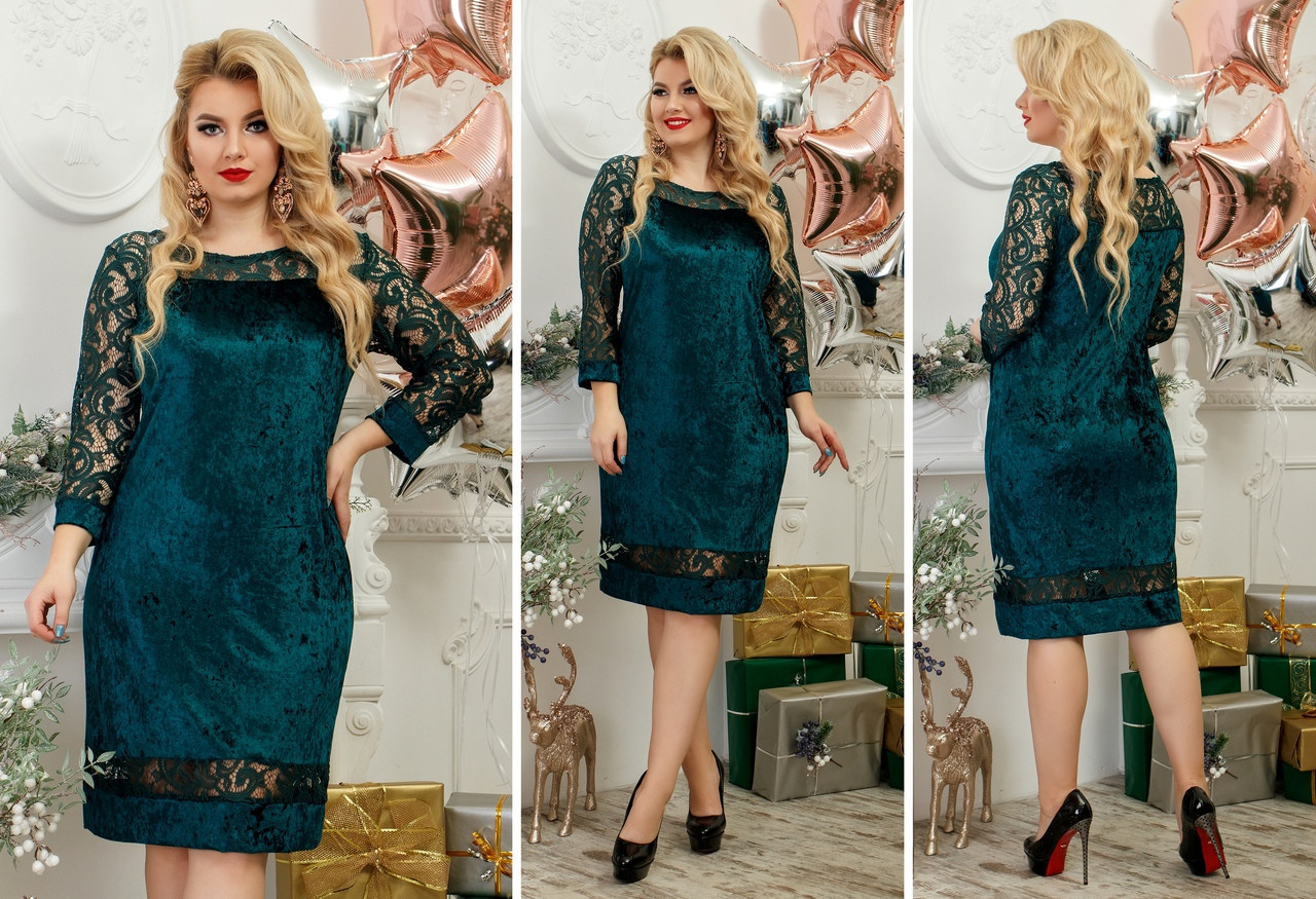 Комбинированное модное женское платье бархат муар + набивной гипюр Размеры 48-50, 52-54, 56-58, 60-62