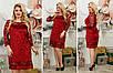 Комбинированное модное женское платье бархат муар + набивной гипюр Размеры 48-50, 52-54, 56-58, 60-62, фото 2