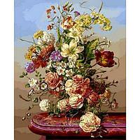 Картина раскраска по номерам на холсте 40*50см Babylon VP1042 Пионы с полевыми цветами