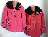 Стильное пальтишко с вязанным воротником  для девочек
