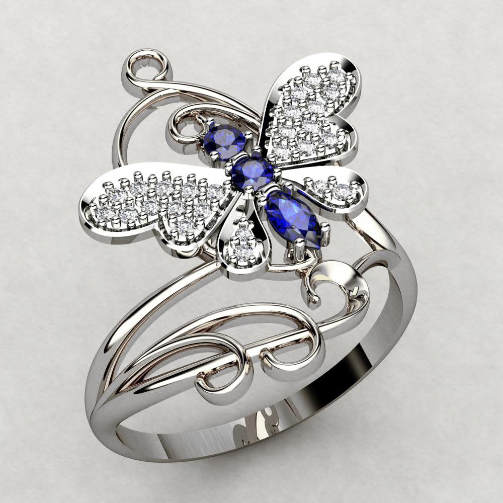 Кольцо  женское серебряное Бабочка с Филигранью