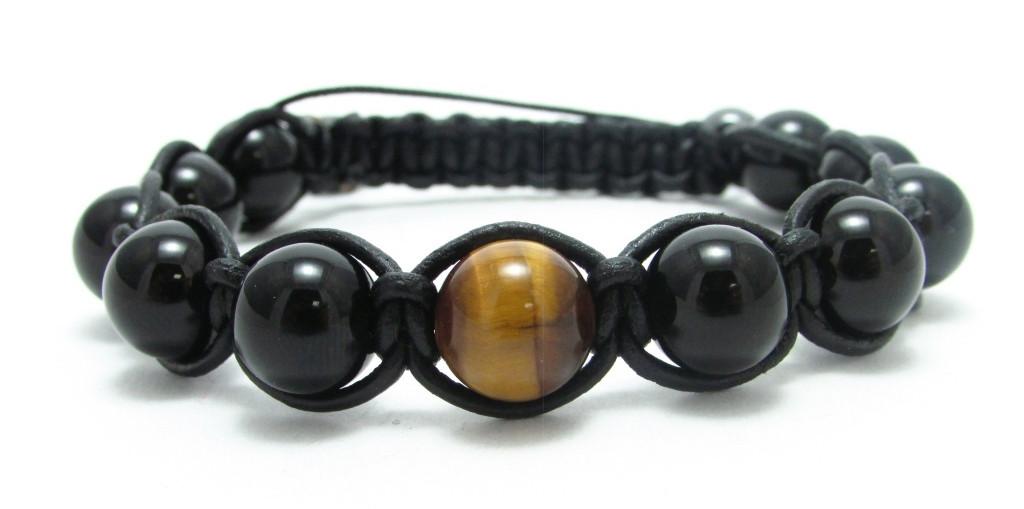 Кожаный браслет из агата и тигрового глаза shamballa