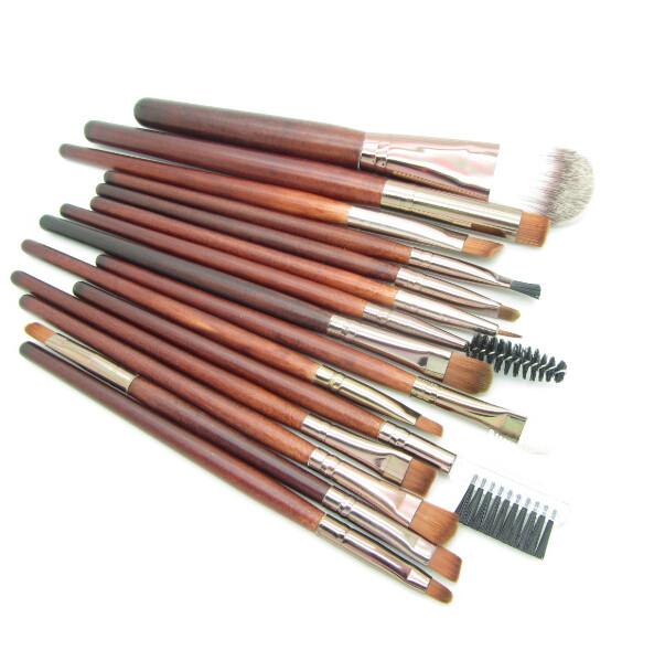 Набор из 15 кистей для макияжа с деревянными ручками