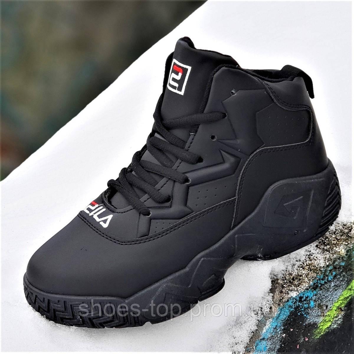 2a6fbac5 Улетные зимние кроссовки на платформе в стиле FILA черные на высокой  толстой подошве унисекс (Код
