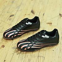 Футзалки бампы кроссовки для футбола черные легкие подошва полиуретан прошитый носок (Код: Ш1317а)