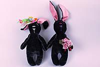 Мягкая игрушка влюбленная пара зайцев (серые)