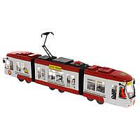 Городской инерционный трамвай City Tram красный, 46 см, «Big Motors» (1258-2)