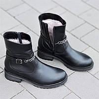 Женские зимние ботинки полусапожки кожаные черные прошитая мягкая резиновая подошва (Код: М1313)