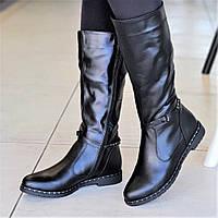 Женские зимние сапоги на низком каблуке кожаные черные удобная колодка мягкая подошва (Код: М1310а)