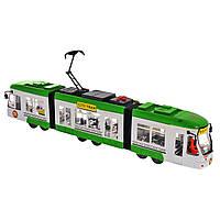 Городской инерционный трамвай City Tram зелёный, 46 см, «Big Motors» (1258-1)