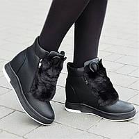 Женские зимние ботинки на танкетке с ушками черные удобная колодка стильные на мягкой подошве (Код: М1315а)