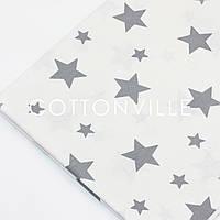 Ранфорс 240 см Звезды серые на белом
