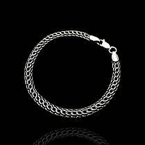 Серебряный браслет, 215мм, 11 грамм, плетение Питон, чернение, фото 2