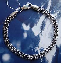 Серебряный браслет, 215мм, 11 грамм, плетение Питон, чернение, фото 3