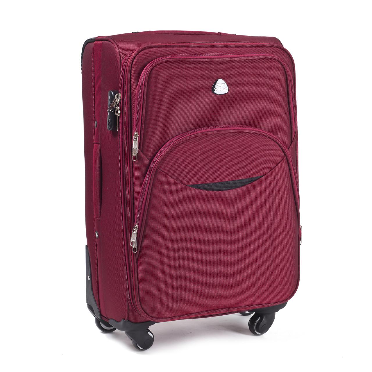 Большой тканевый чемодан Wings 1708 на 4 колесах бордовый