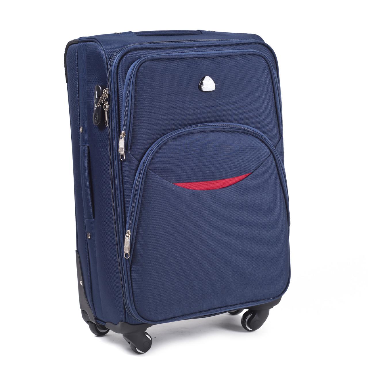 Большой тканевый чемодан Wings 1708 на 4 колесах синий, фото 1