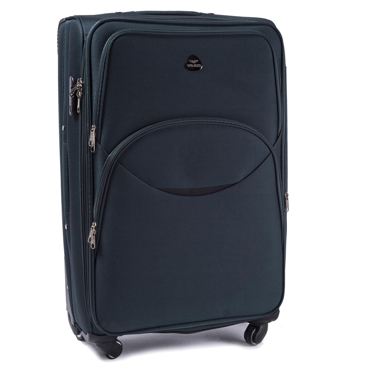 Большой тканевый чемодан Wings 1708 на 4 колесах зеленый