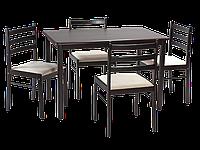 Стол обеденный деревянный Starter II темно-коричневый + 4 стула Signal