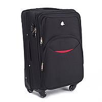 Средний тканевый чемодан Wings 1708 на 4 колесах черный