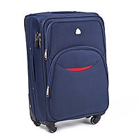 Средний тканевый чемодан Wings 1708 на 4 колесах синий