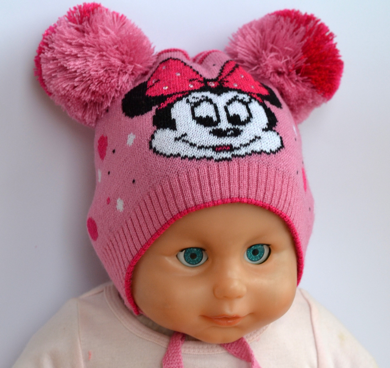 Шапка для девочки Микки Маус розовый Арктик 002 (р.40-44)