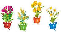"""Набор декораций напольных для оформления праздников """"Весенние цветы в горшочках"""""""