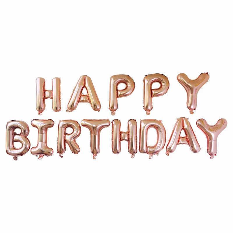 Гирлянда Happy birthday буквы розовое золото