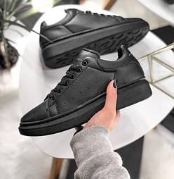 Женские кроссовки Adidas Alexander McQueen Sneaker Triple black. Живое фото  (Реплика ААА+) bde6702398bbc
