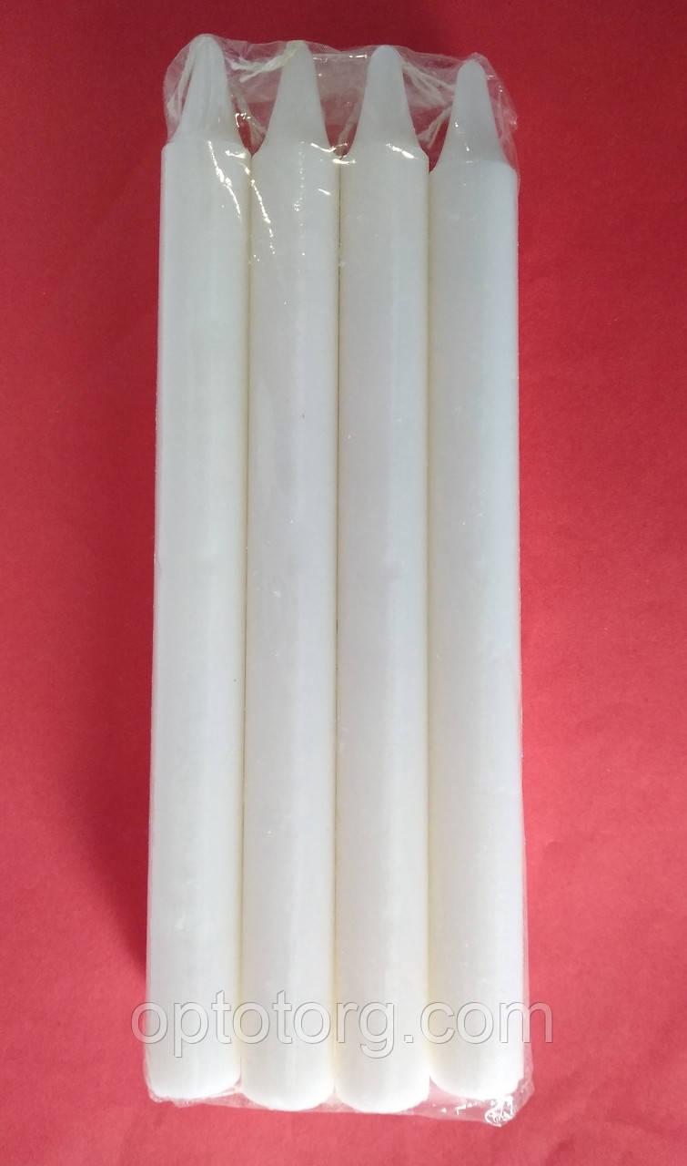 Свеча столовая белая 19*1,4 см 8 штук 4 часа