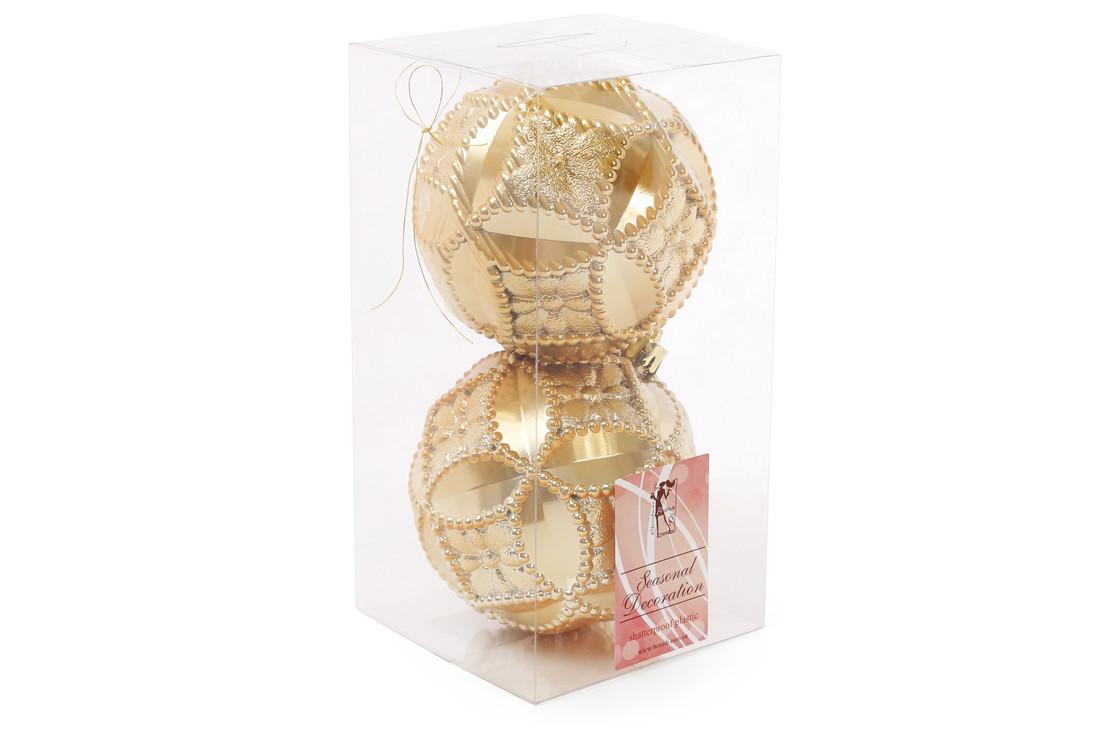 Набор елочных шаров с рельефом 10см, цвет - яркое золото, 2 шт: перламутр BonaDi 147-018