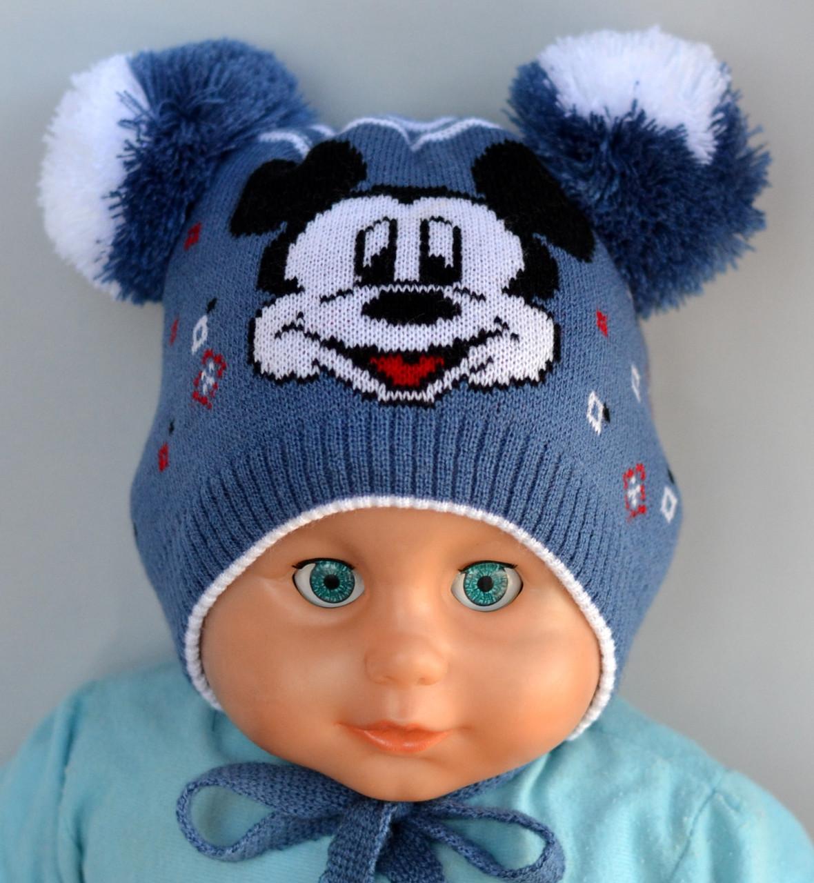 Шапка для мальчика Микки Маус джинс Арктик 002 (р.40-44)