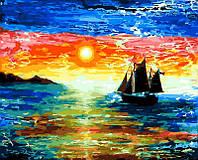 Картина по номерам Rainbow Art Парусник на закате 40*50 см GX25589