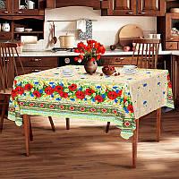 """Скатерть льняная  """"Мак-колосок"""" 1.8м х 1.5м (средний стол), фото 1"""
