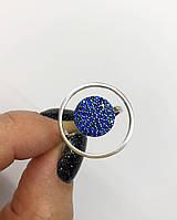 Кольцо  Мої прикраси из серебра с камнями Swarovski  модерн синее (размер 18,5)