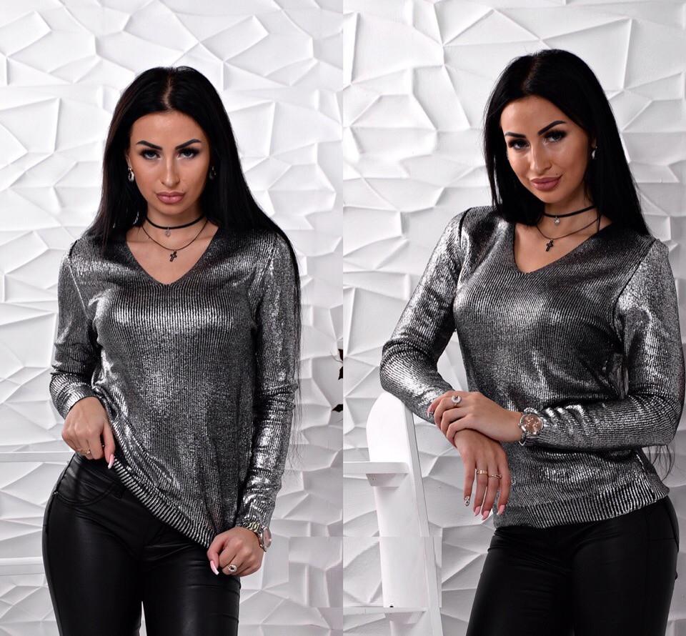 Свитер мелкой вязки черного цвета с мерцающим напылением 42-46 р, женские свитера оптом
