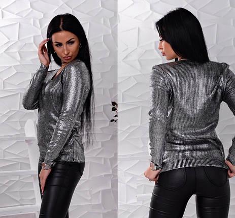 Свитер мелкой вязки черного цвета с мерцающим напылением 42-46 р, женские свитера оптом, фото 2