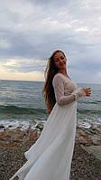 Шифонова весільна сукня з довгим рукавом