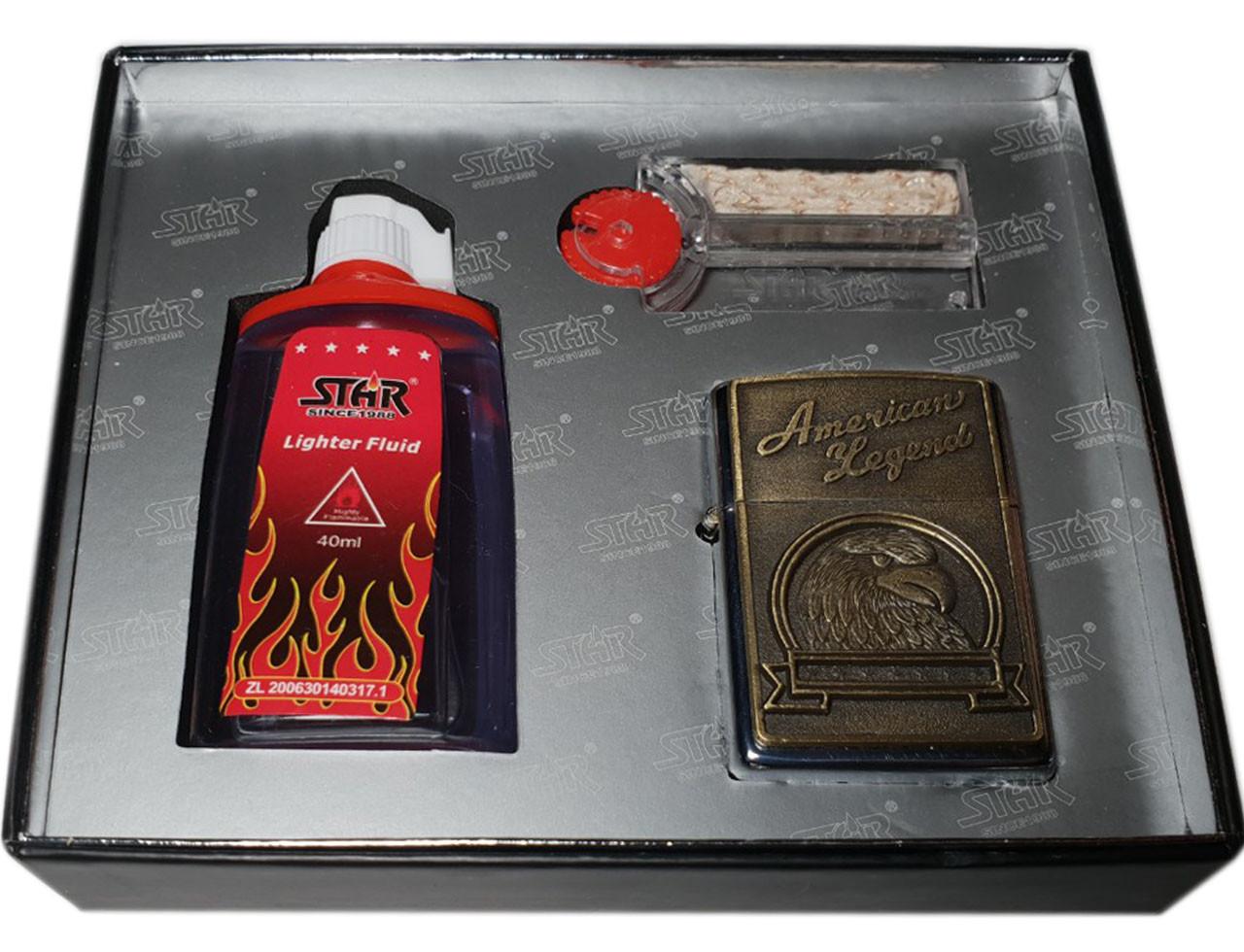 Подарочный набор  3в1 (Зажигалка, бензин, кремень/фитиль) 4934
