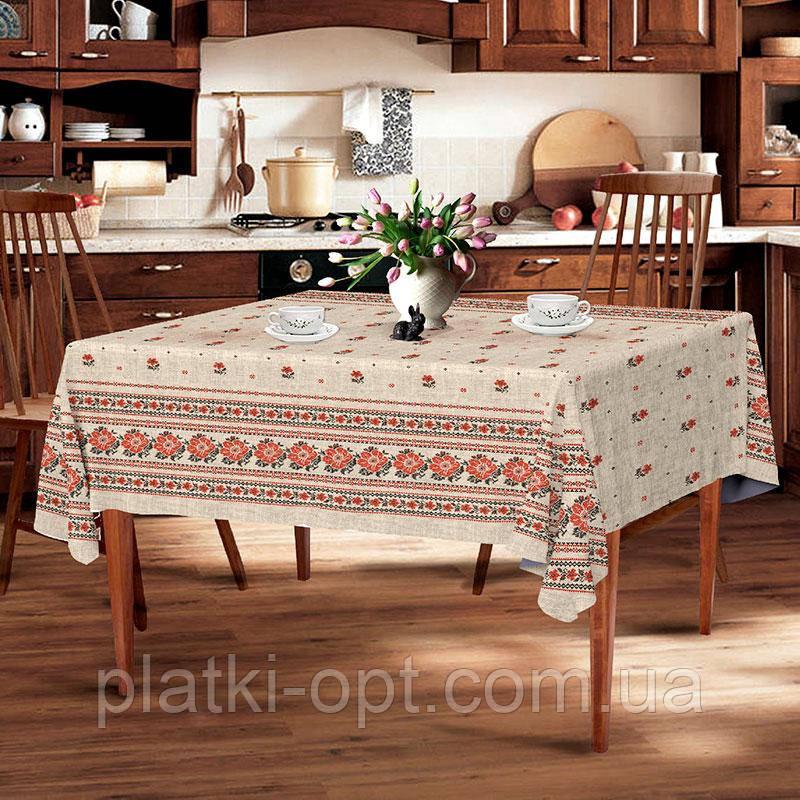 "Скатерть льняная  ""Серый орнамент"" 1.5м х 1.1м (кухонный стол)"